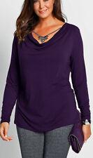 Geschmackvolles Shirt mit Wasserfallkragen Gr. 56/58 lila 920523  Neu