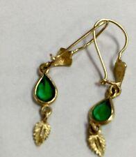 Earring Dangle Green Stone 14 K Solid Yellow Gold