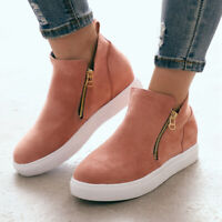Women's Casual Wedge Suede Flat Zipper Shoes Round Toe Thick Ankle Boots