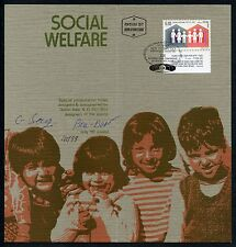 ISRAEL 1978 SOCIAL WLEFARE  FOLDER AUTOGRAPHED BY DESIGNER AND FD CANCELLED