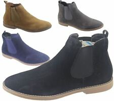 Mens Chelsea Boots Faux Suede Office Casual Dress Desert Ankle Shoes