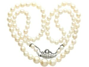 Antique Single Strand Natural Pearl Necklace with 0.30ct Diamond Set Clasp 1930s