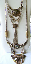 ANTIQUED GOLD BOHO, EXOTIC, ETHNIC CHAIN DISK RHINESTONE CRESCENT LONG NECKLACE