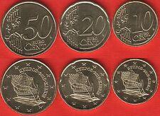 "Cyprus euro set (3 coins): 10, 20, 50 cents 2016 ""Ships"" UNC"