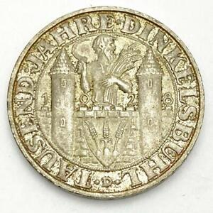 1928-D Germany Weimar  Dinkelsbuhl 3 Mark Silver Coin XF-AU Ungraded - NICE