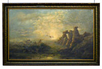"""Antique 19th ORIGINAL OIL PAINTING Signed """"J. HITCHINS"""" Overcast Seascape FRAMED"""
