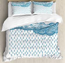 Blue Queen Size Duvet Cover Set Rain Cloud Sketch Fall with 2 Pillow Shams