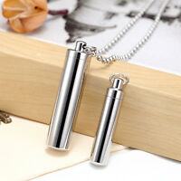 Alloy Tube Pendant Necklace Cylinder Cremation Urn Ashes vial Pill Case Keeper