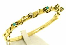 Vintage 14k Solid Gold Round Turquoise Diamond Twisted Wire Open Bangle Bracelet