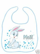Bavoir bébé blanc bordure bleue réf G17 personnalisé avec prénom