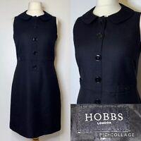 Hobbs Redgrave Black Wool Dress UK12 Peter Pan Collar 60s Style