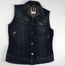 NEW RRP $289 Women G-Star Raw 'SLIM TAILOR JKT S/LESS WMN' DK Aged Vest Jacket M