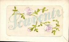 WW1 Embroidered Silk. Souvenir. Blue Letters & Pink Flowers.