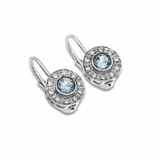 0.20ct DIAMOND & TOPAZ HINGED SNAP BACK EARRINGS 14k WG