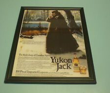 1970's YUKON JACK CANADIAN WHISKEY FRAMED AD PRINT