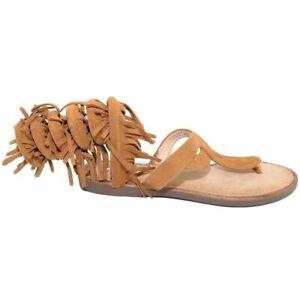 Sandalo basso donna cuoio estivo alla schiava infradito serpendino frange gladia
