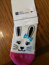 NWT Gap Kids girl 1 pair of fashion socks; white w/bunny face & pink accents; M