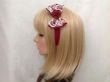Flower rose headband hair bow rockabilly pin up girl Lolita lace vintage pretty