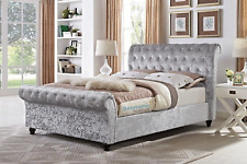 Crushed Velvet Upholstered Chesterfield Sleigh Bed Frame Double 4ft, 4ft6, 5ft