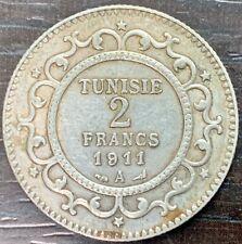 TUNISIE - MOHAMED EN NACEUR - 2 FRANCS ARGENT 1911 A