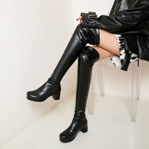 Women Over Knee Boots Platform Thigh High Heels RoundToe Block Boot Party Shoes