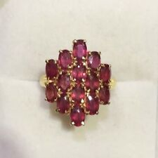 14k Solid Yellow Gold Cluster Ring with Natural Oval Ruby 3.93GM 4.2CT