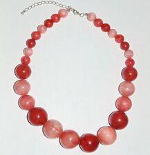 Vintage marbled orange brown peach acrylic graduated big round beads necklace