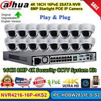 Dahua 4K CCTV System Kit 16CH NVR 8MP Starlight POE IP Camera IPC-HDBW2831E-S-S2