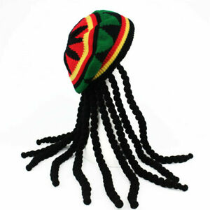 RASTA Dreadlocks Hair Tam Beanie Cap Fancy Dress Party Jamaica Hat Men Fancy Cap