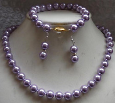 Perfect 10mm Purple Sea Pearl Shell Necklace  Bracelets Earring Set AAA