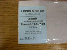 20/12/1997 Ticket: Leeds United v Arsenal [Premier Lounge - Full Time]. Thanks f