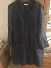 TOAST navy Blue & Beige Stripe Linen Tunic Dress Sz S 10/12 Lagenlook