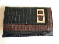 NWOT PAOLA DANGOND Crocodile Clutch Bag Handbag | Navy Blue/Brown