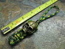 ANACONDA PARACORD KNIFE LANYARD W/ BRONZE CROSS SKULL & BEAD AMERICAN MADE