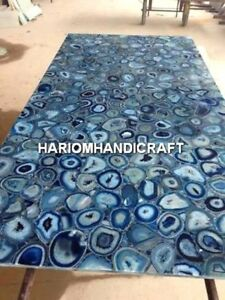 4'x2' Beautiful Marble Dining Table Top Rare Inlay Blue Agate Kitchen Decor E332