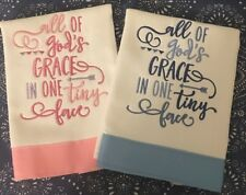 All of God's Grace Embroidered Cloth Diaper Burp Cloths - Pinks or Blues