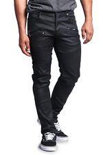 Victorious Men's Skinny Fit Coated Biker Jean zipper Moto Pants DL1030-DENIM