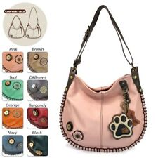 New Chala  Hobo Large Tote Bag IVORY PAW Pink Pleather Convertible w/ Coin Purse