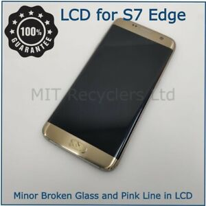 Samsung S7 Edge G935F Gold LCD Display - Pink line - Broken Glass-Working Touch