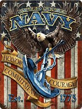 United States NAVY USA Honor Courage Vintage Retro Military Metal Sign 9x12