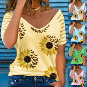 Womens Sunflower T Shirt Blouse Ladies Summer Short Sleeve Tee Tops UK Plus Size