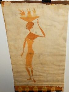 AFRICAN WOMAN CARRYING FRIUT ORIGINAL BATIK PAINTING UNSIGNED