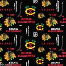 CHICAGO BLACKHAWKS NHL HOCKEY 100% BLACK COTTON FABRIC MATERIAL BY THE 1/2 YARDS