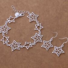 Bracelet Earrings Set Celtic Star Ladies 925 Sterling Silver Jewellery Gift