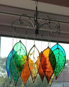 10x Autumn Leaf green amber stained glass suncatcher FREE 16cm hanging display