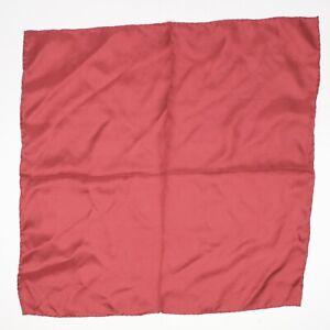 "VTG Pierre Cardin Mens Silk Pocket Square 16.5"" Solid Burgundy Hand Rolled Edge"