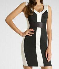 Lipsy Sexy Bodycon Dress 10 Black White PU Leather Panel Wiggle Mini Club Party