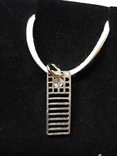 "Mackintosh Chair Back Fine English Pewter On 18"" White Cord Necklace codew19"