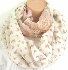 Oversized Cream Butterfly Print Circle Loop Infinity Scarf Snood New Spring
