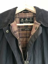 Long Dark Brown Ladies Barbour Wax Jacket 3/4 Lined With Quilted Tartan Size 14